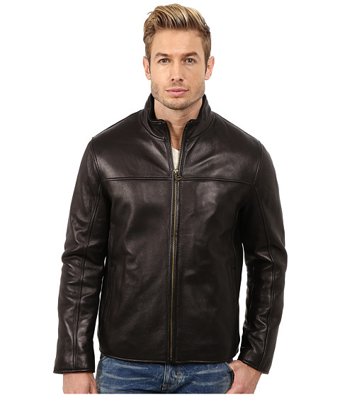 Cole Haan - Smooth Lamb Convertible Collar Jacket (Black) Men
