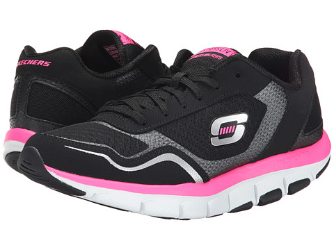 SKECHERS - Liv - High Line Shape Ups (Black/Hot Pink) Women's Shoes