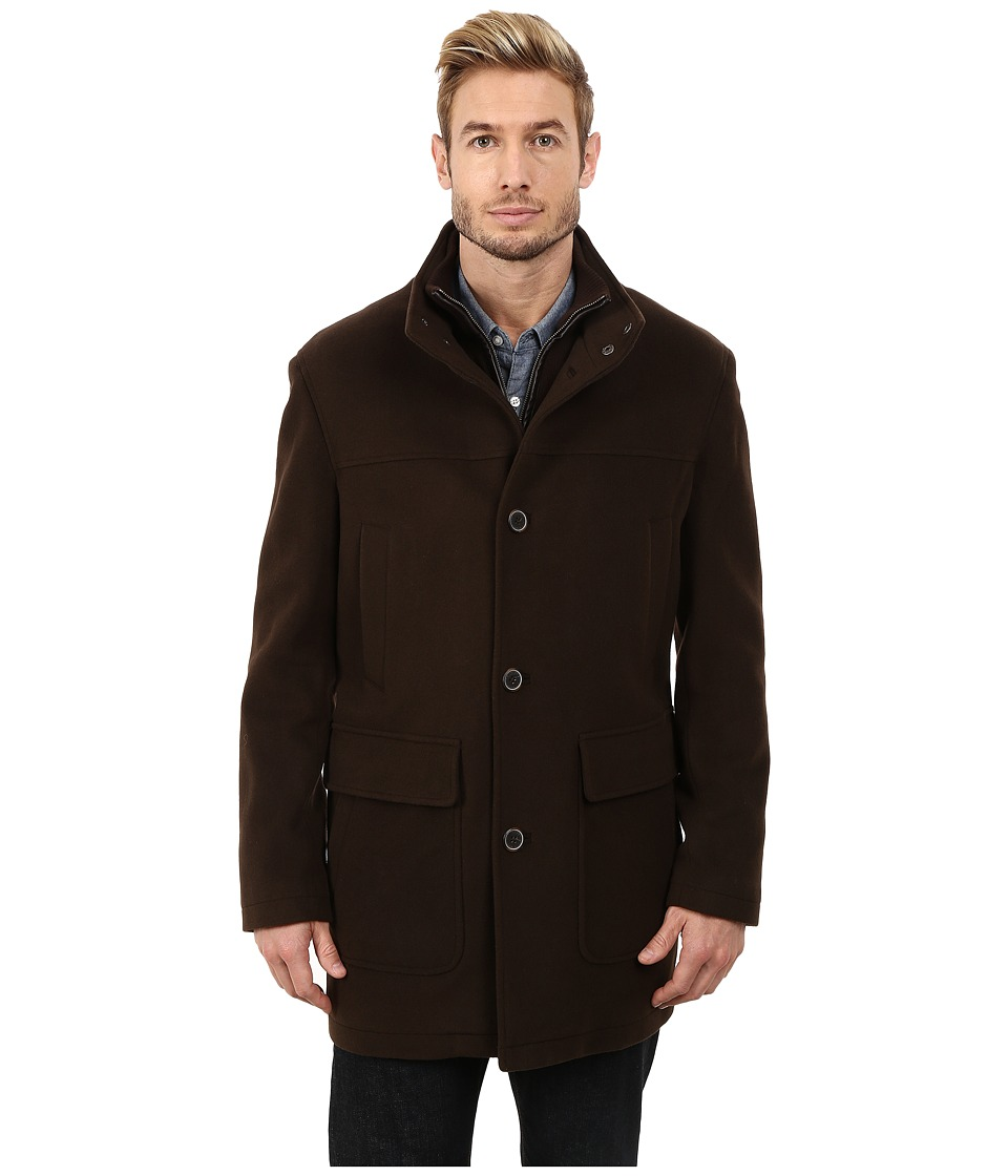 Cole Haan - Bib Front Wool Topper (Espresso) Men's Jacket