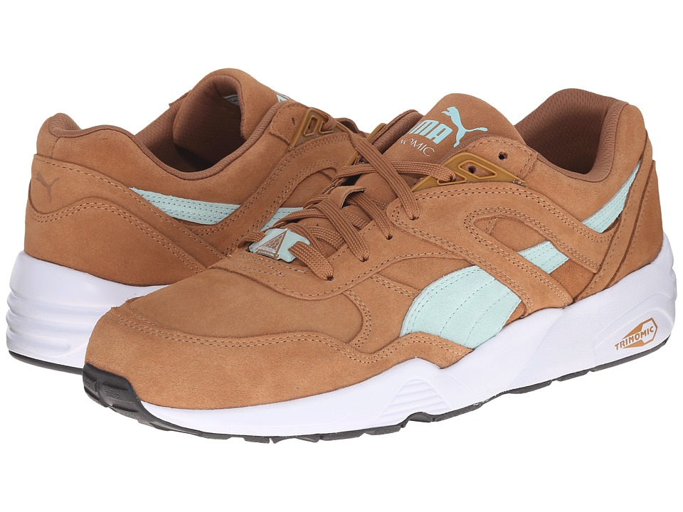 PUMA - R698 Allover Suede (Chipmunk Brown/Fair Aqua/White) Men's Shoes