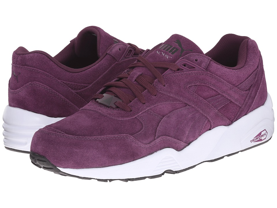 PUMA - R698 Allover Suede (Italian Plum/White/Black) Men's Shoes