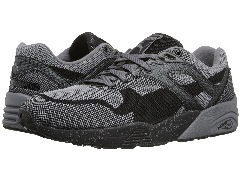 PUMA - R698 Knit Mesh Splatter (Black/Steel Grey) Men's Shoes
