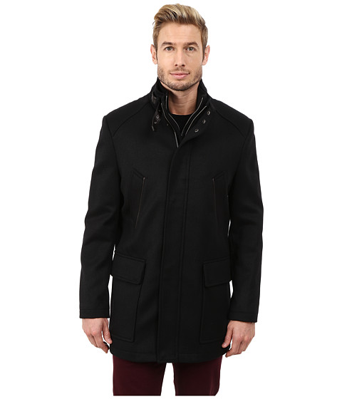 Cole Haan - Italian Twill Carcoat (Black) Men's Jacket