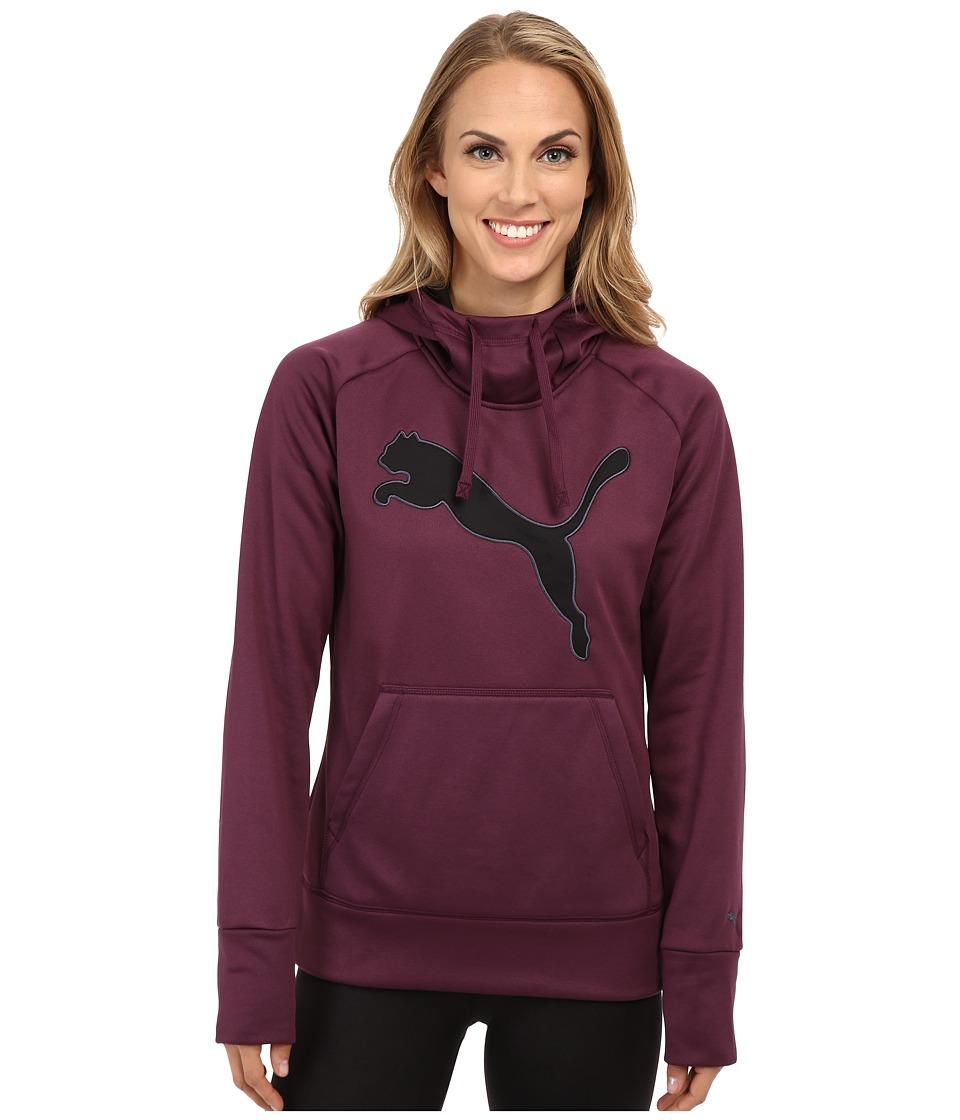 PUMA - Poly Fleece Hoodie (Italian Plum/Black) Women's Sweatshirt