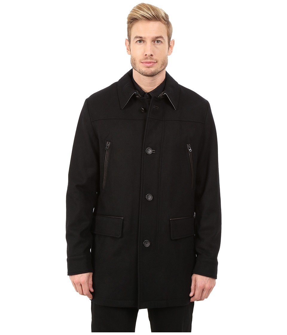 Cole Haan - Melton Shirt Collar Coat (Black) Men's Coat