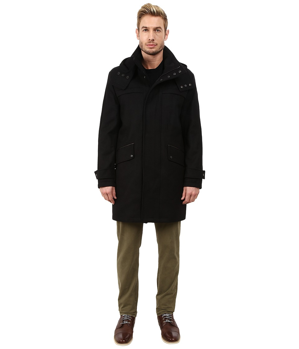 Cole Haan - Melton Parka with Oversized Hood (Black) Men's Coat