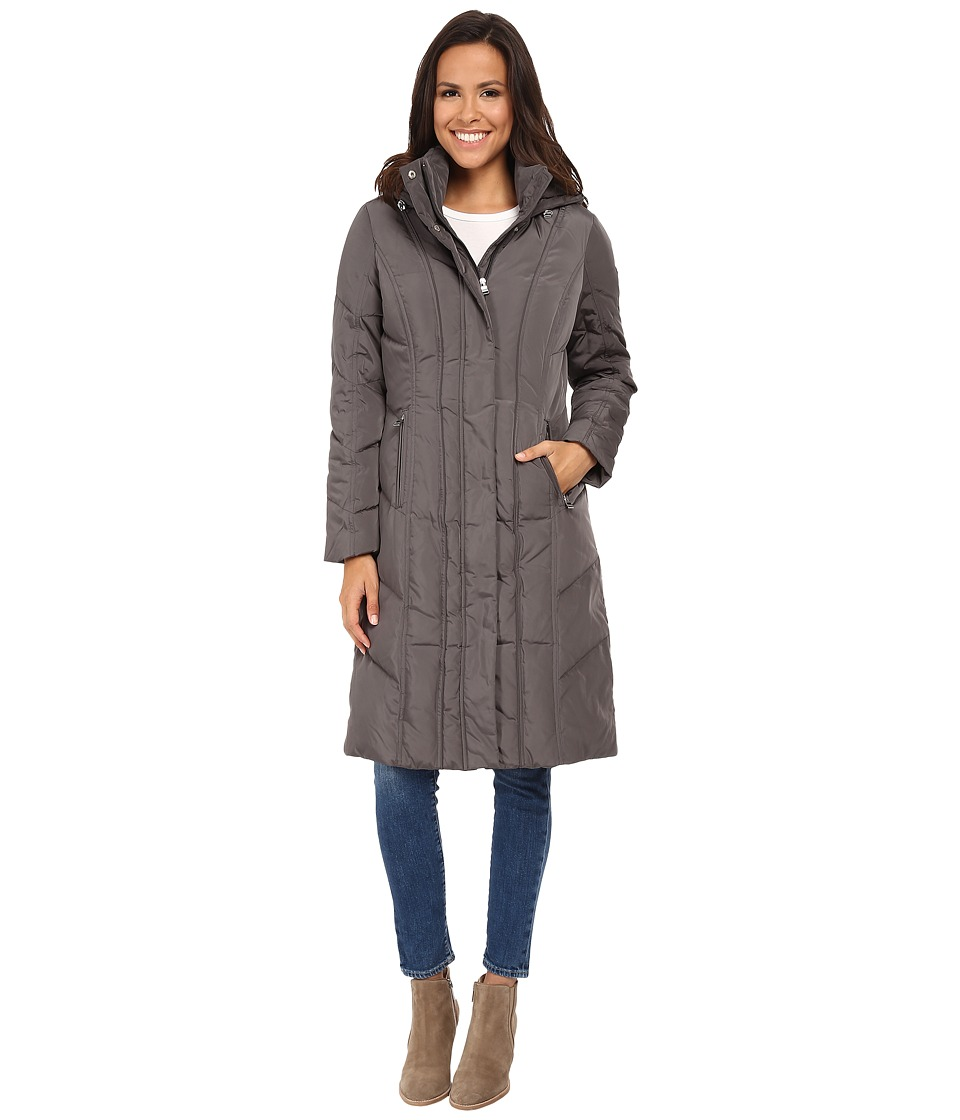 Calvin Klein - Long Down Coat w/ Untrimmed Hood (Titanium) Women