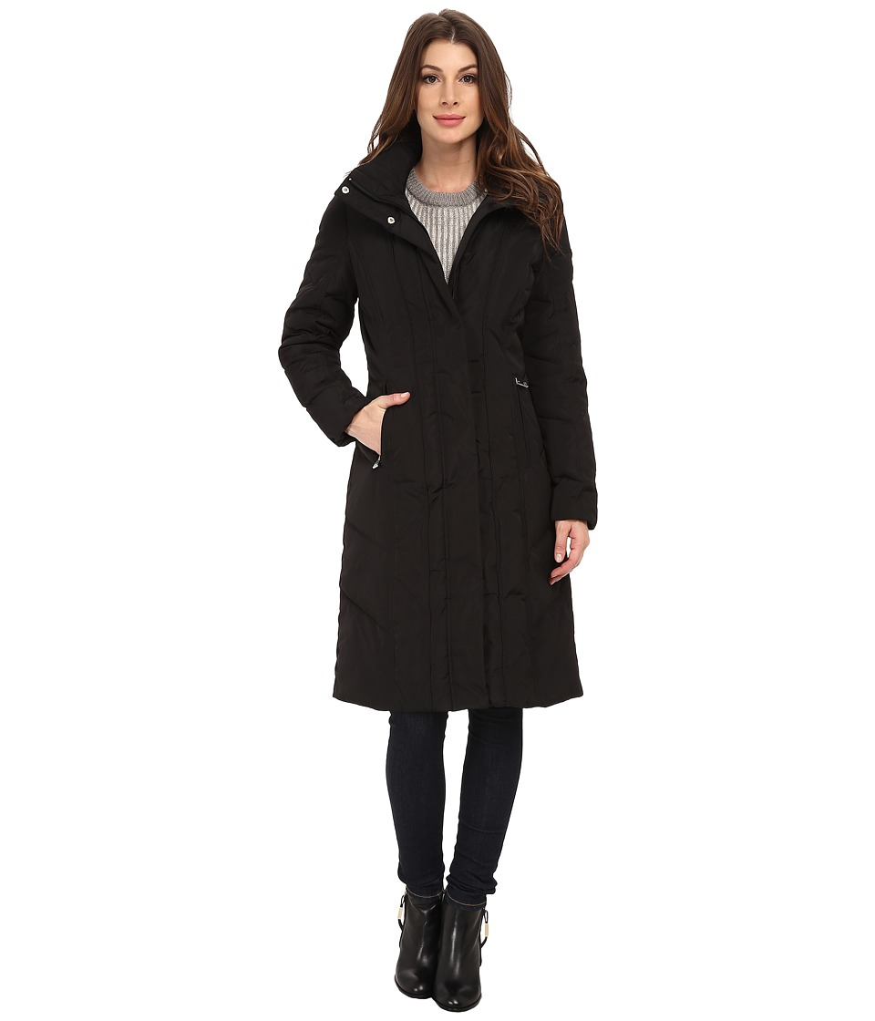 Calvin Klein - Long Down Coat w/ Untrimmed Hood (Black) Women