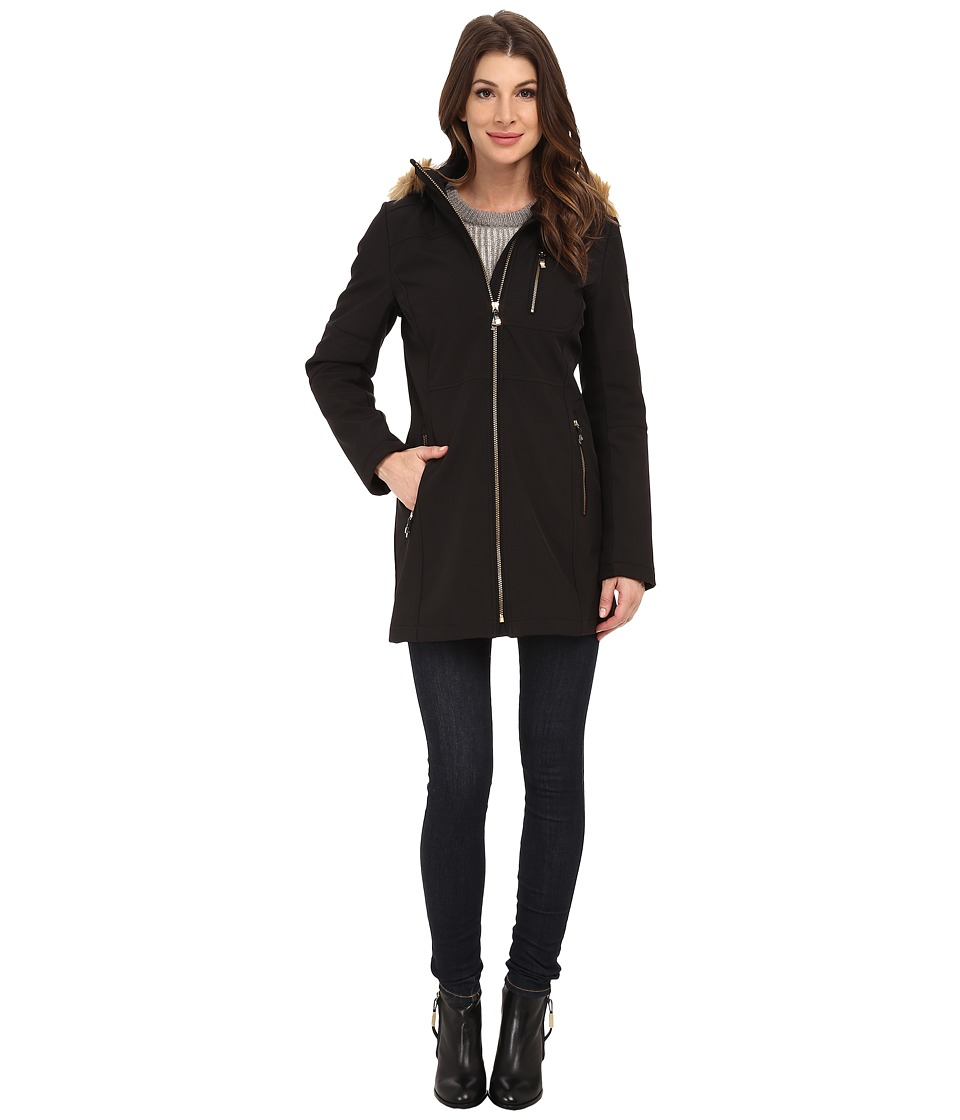 Calvin Klein - Zip Front Soft Shell w/ Fur Trimmed Hood (Black) Women's Coat