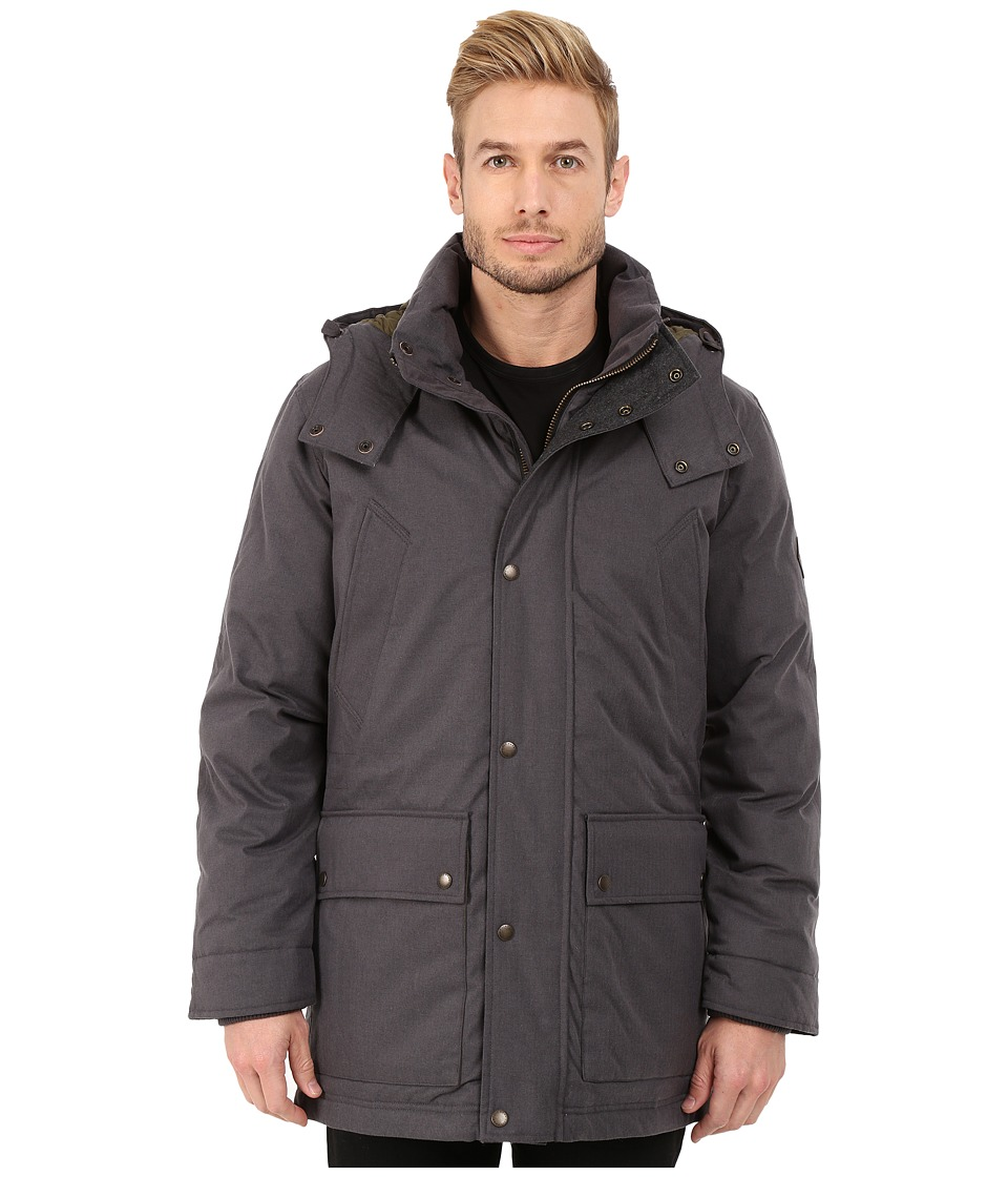 Cole Haan Brushed Flannel Parka w/ Ribknit Collar (Charcoal) Men