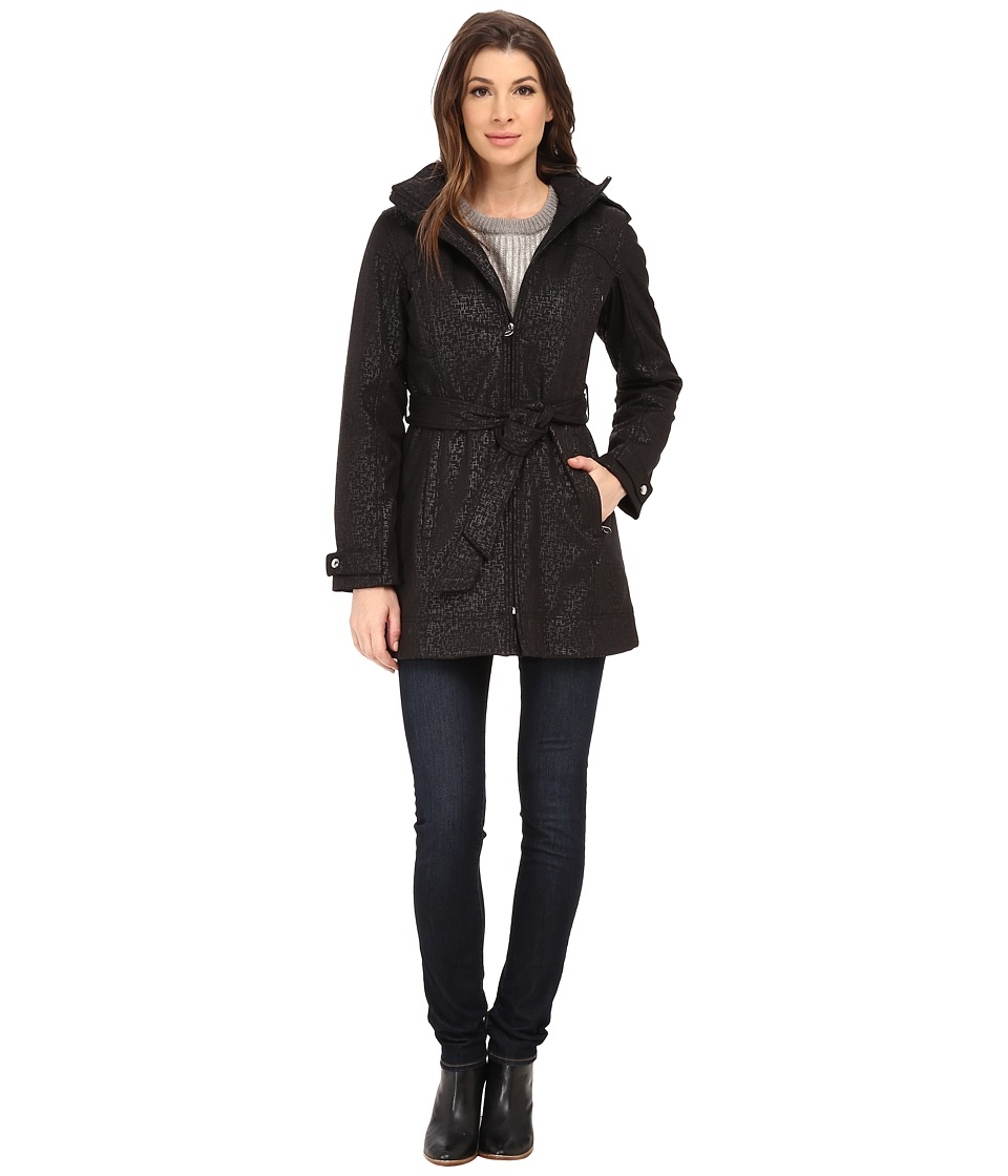 Calvin Klein - Zip Front Belted Soft Shell w/ Hood (Embossed Black) Women's Coat