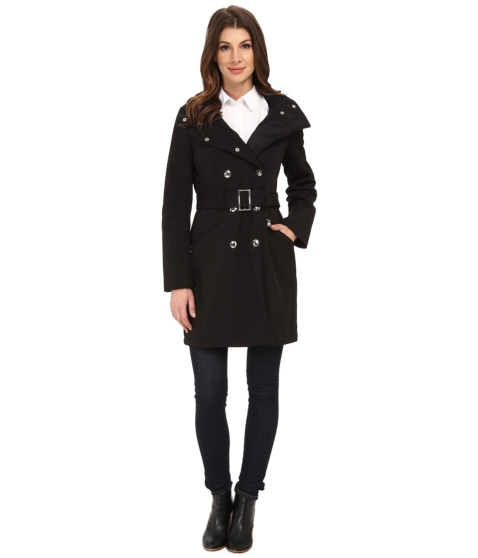Calvin Klein - Double Breasted Coat w/ Rib Detail (Black) Women's Coat