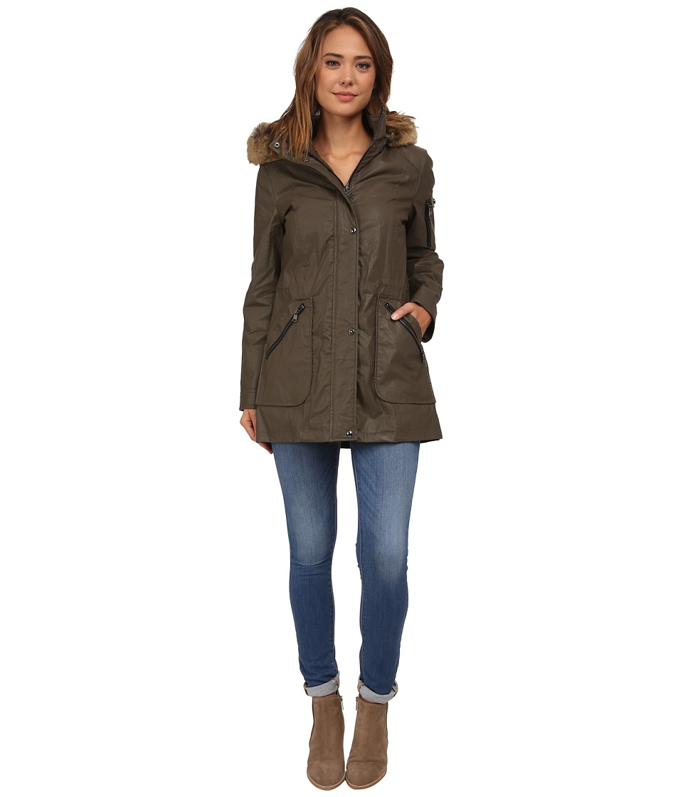Calvin Klein - Waxy Cotton Anorak Coat w/ Jersey Lining (Olive) Women's Coat