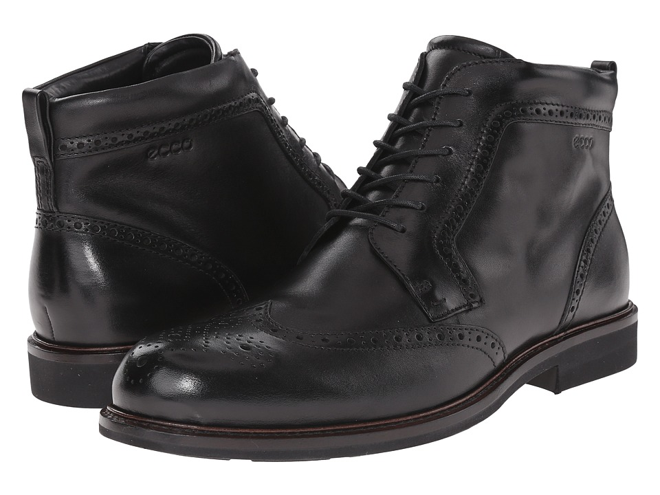 ECCO - Findlay Wing Tip Boot (Black) Men's Lace-up Boots