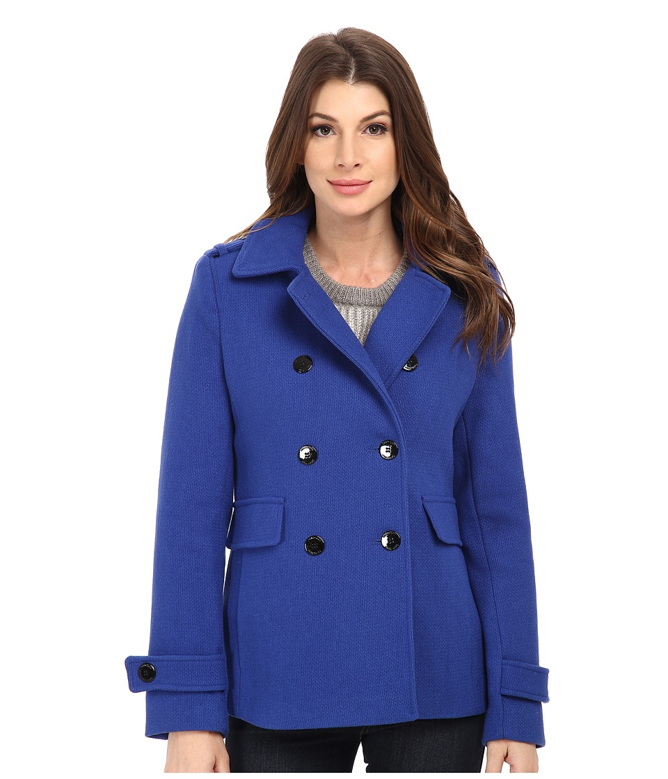 Calvin Klein - Double Breasted Wool Coat (Atlantis) Women's Coat