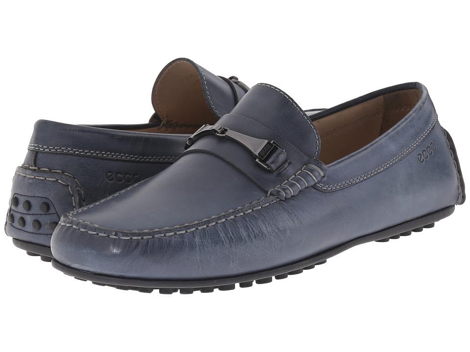 ECCO - Hybrid Moc Loafer (Navy) Men's Slip on Shoes