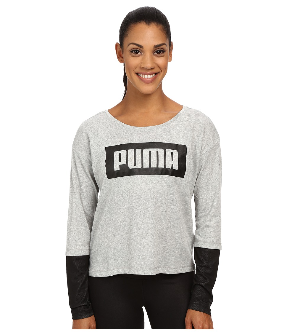 PUMA - Long Sleeve Top (Athletic Gray Heather) Women's Clothing