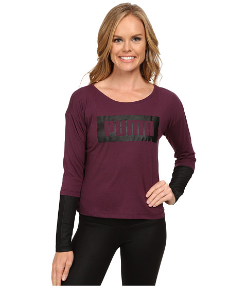 PUMA - Long Sleeve Top (Italian Plum) Women's Clothing