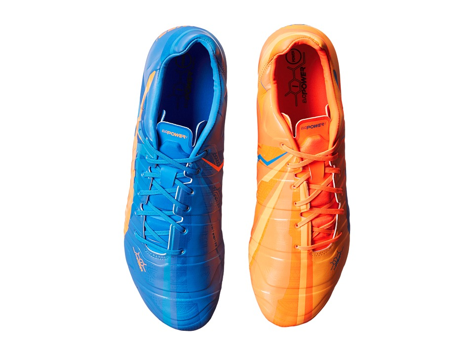 PUMA - evoPOWER 1 H2H FG (Orange Clown Fish/Electric Blue Lemonade) Men's Shoes
