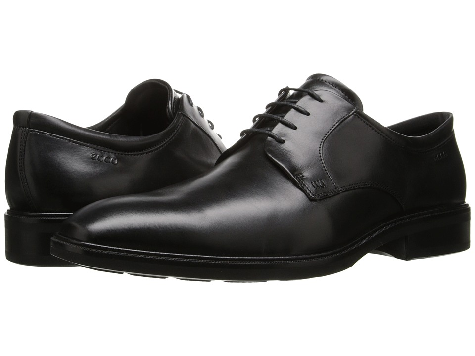 ECCO - Illinois Plain Toe Tie (Black) Men's Shoes