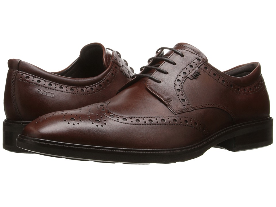 ECCO - Illinois Wing Tip Tie (Cognac) Men's Lace Up Wing Tip Shoes