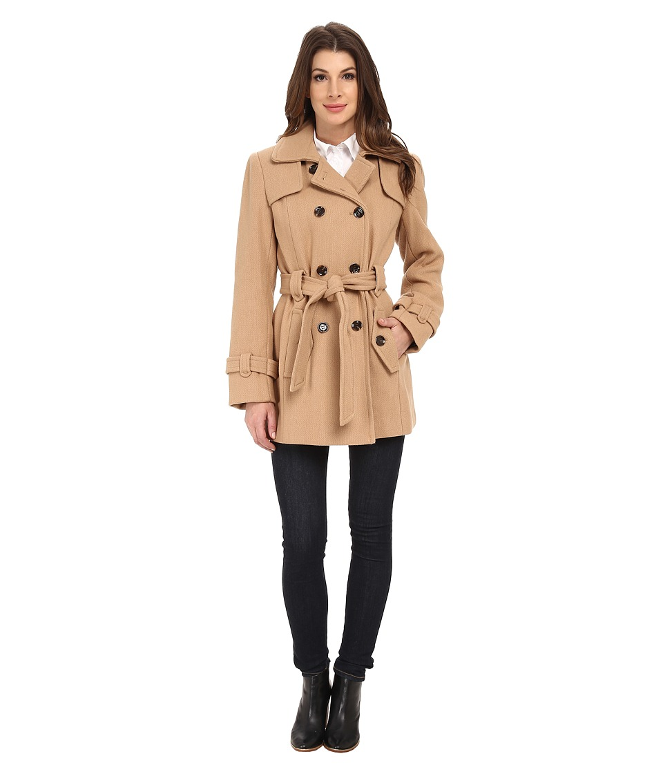 Calvin Klein - Double Breasted Belted Wool Trench Coat (Camel) Women's Coat