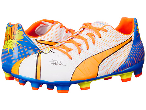 PUMA - evoPOWER 3.2 Graphic POP FG (White/Orange Clown Fish/Electric Blue Lemonade) Men's Shoes
