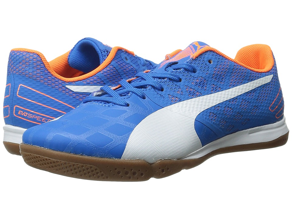PUMA - evoSPEED Sala 3.4 (Electric Blue Lemonade/White/Orange Clown Fish) Men's Soccer Shoes