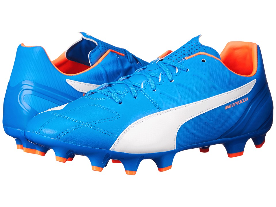 PUMA - evoSPEED 3.4 Lth FG (Electric Blue Lemonade/White/Orange Clown Fish) Men