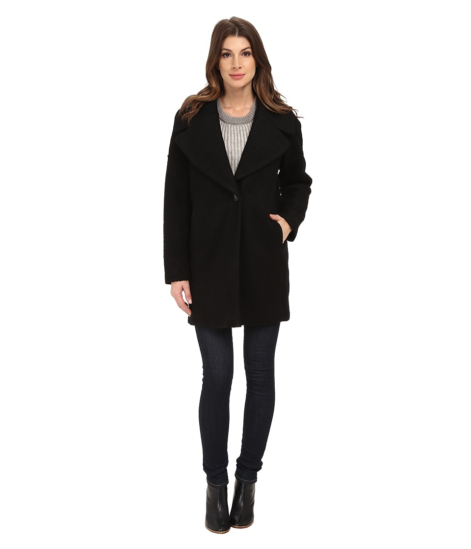 Calvin Klein - Wool One Button Boyfriend Coat (Black Boucle) Women's Coat