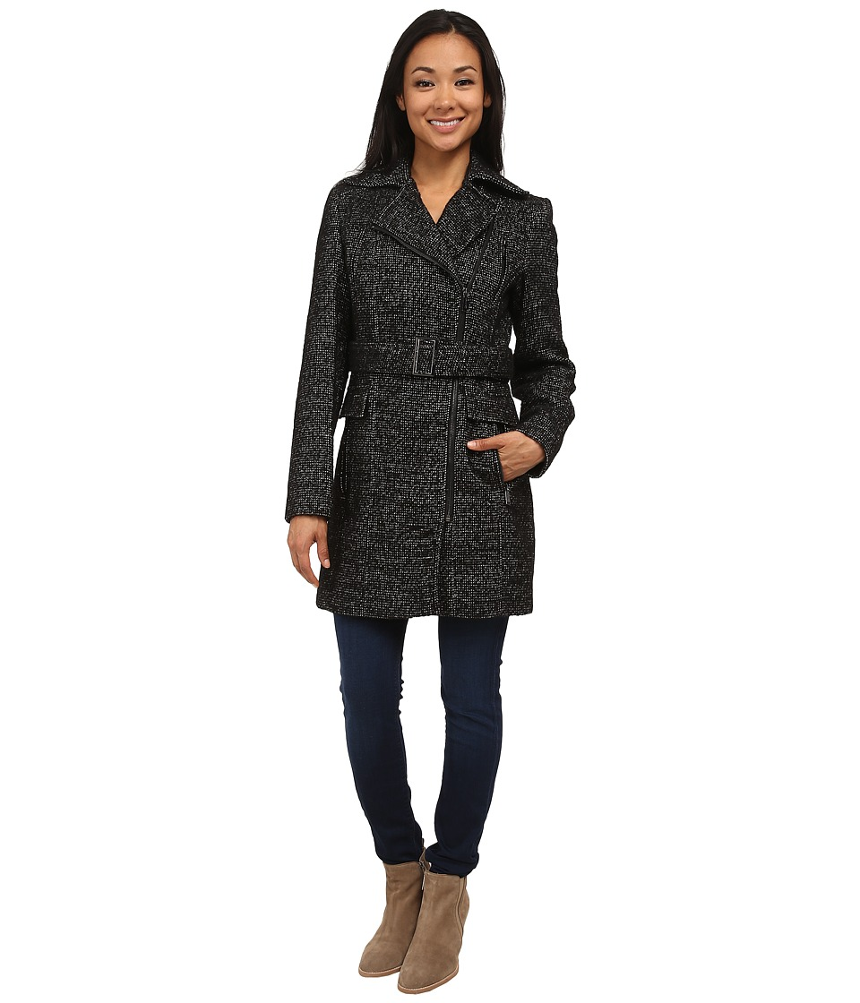 Calvin Klein - Wool Belted Coat w/ Asymmetrical Zipper (Black/White) Women's Coat