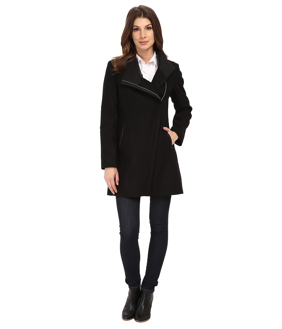 Calvin Klein - Wool Asymmetrical Zip Coat (Black) Women's Coat