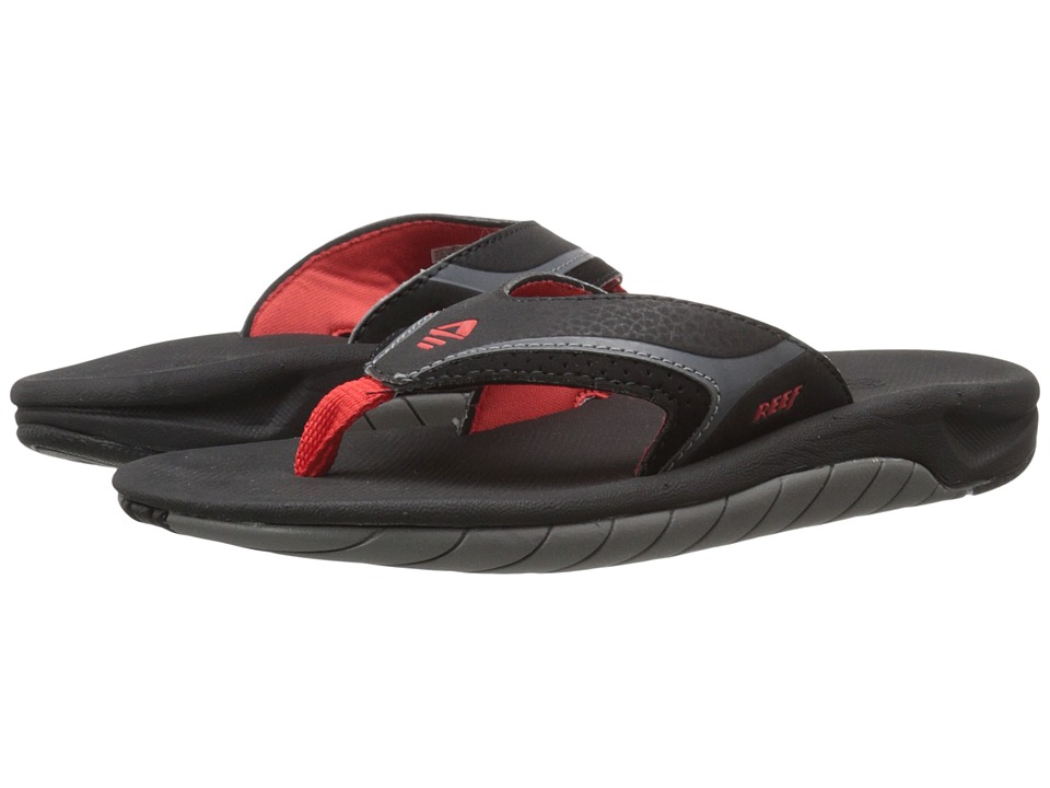 Reef Kids Slap II (Infant/Toddler/Little Kid/Big Kid) (Black/Red/Grey) Boys Shoes
