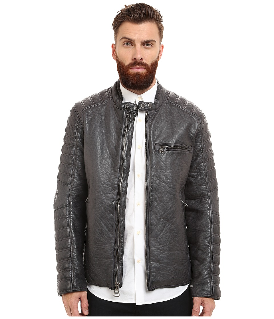 Marc New York by Andrew Marc - Broadway Bubble P/U Moto Jacket w/ Quilted Sleeve Detail (Steel) Men's Coat