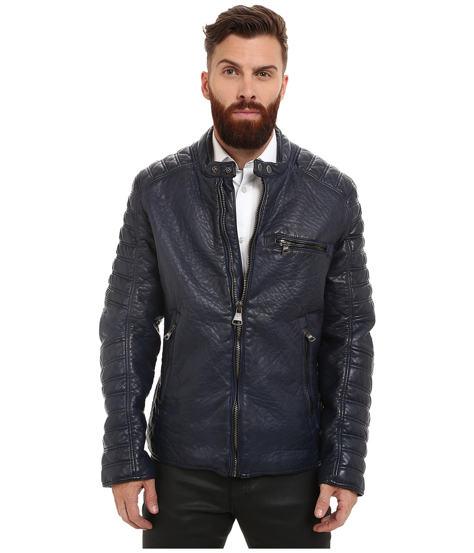Marc New York by Andrew Marc - Broadway Bubble P/U Moto Jacket w/ Quilted Sleeve Detail (Ink) Men's Coat