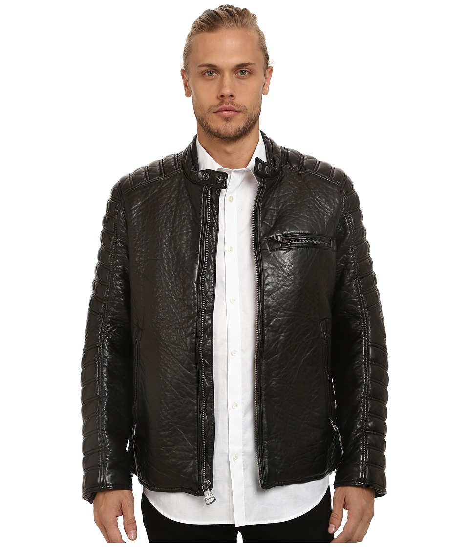 Marc New York by Andrew Marc - Broadway Bubble P/U Moto Jacket w/ Quilted Sleeve Detail (Black) Men's Coat