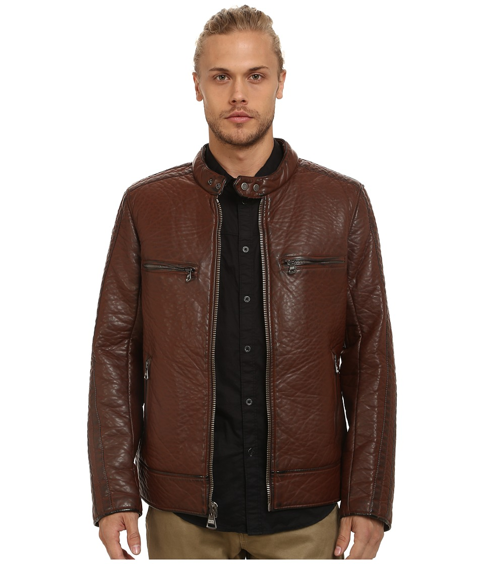 Marc New York by Andrew Marc - Gramercy Bubble P/U Moto Jacket w/ Chest Zipper Pockets (Mahogany) Men's Coat