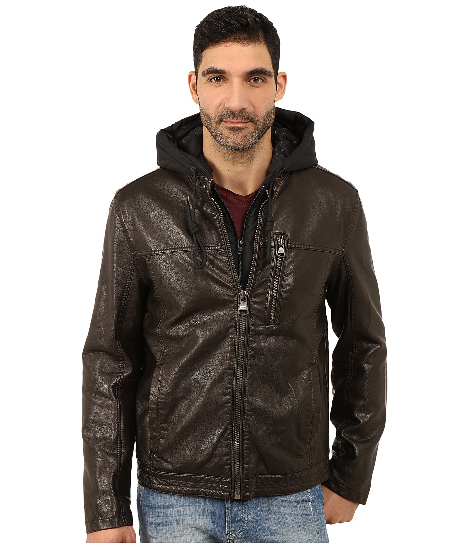 Marc New York by Andrew Marc - Washington Distressed P/U Moto Jacket w/ Removable Quilted Hoodie Bib (Brown) Men
