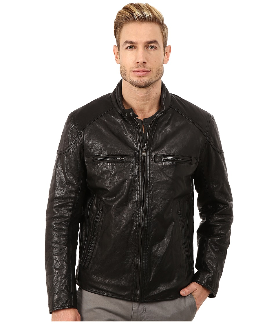 Marc New York by Andrew Marc - Mac Lightweight Calf Moto Jacket w/ Chest Zipper Pockets (Black) Men's Coat