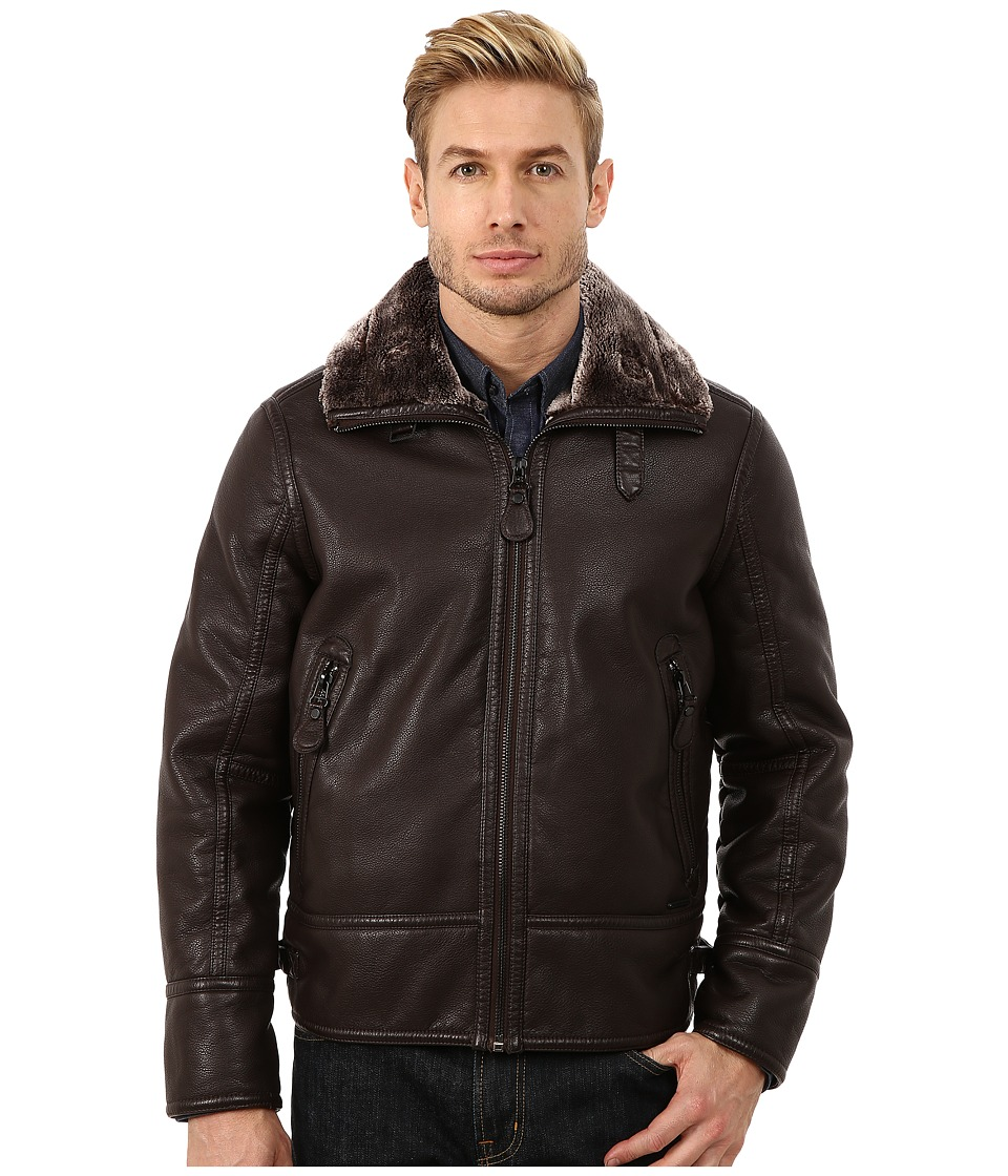 Marc New York by Andrew Marc - Kane Faux Shearling Aviator Jacket (Brown) Men's Coat