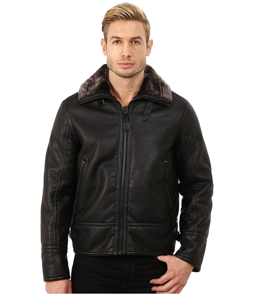 Marc New York by Andrew Marc - Kane Faux Shearling Aviator Jacket (Black) Men's Coat