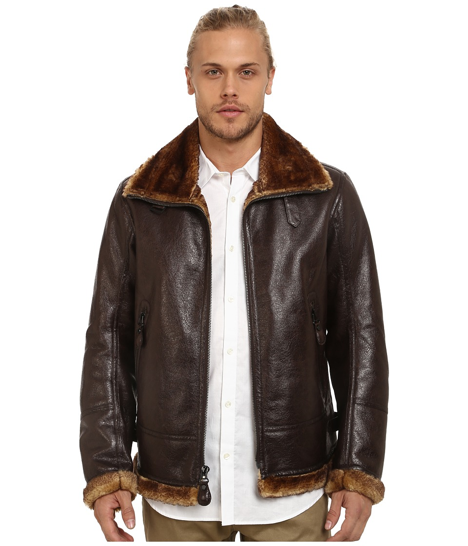 Marc New York by Andrew Marc - Pilot Faux Shearling Aviator Jacket (Dark Brown) Men