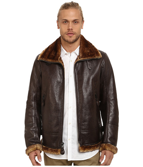 Marc New York by Andrew Marc - Pilot Faux Shearling Aviator Jacket (Dark Brown) Men's Coat