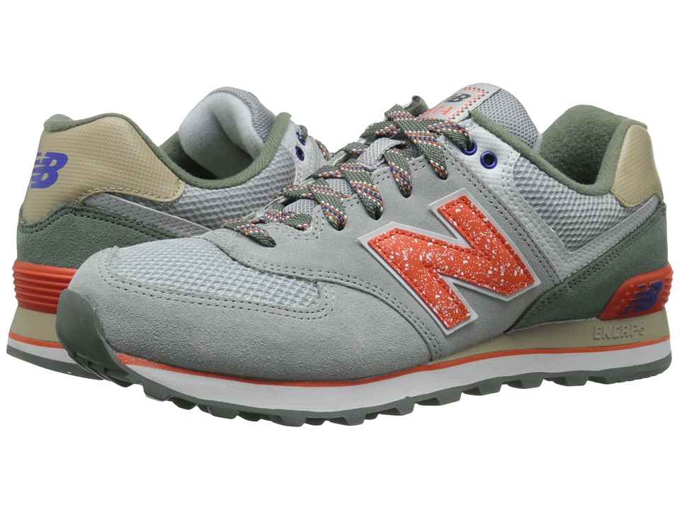 New Balance Classics - M574 (Grey/Orange Suede/Mesh) Men's Classic Shoes