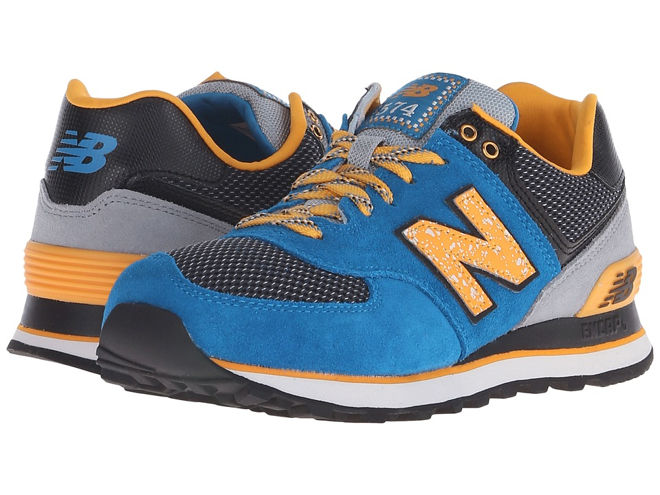 New Balance Classics - WL574 (Blue/Yellow Suede/Mesh) Women's Lace up casual Shoes