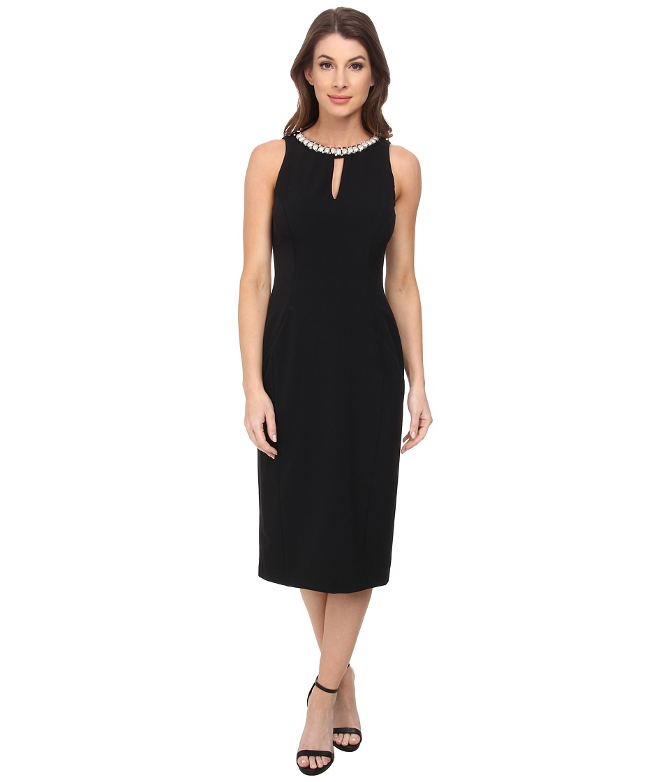 London Times - Midi Sheath with Neck Trim (Black) Women