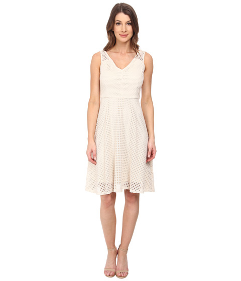 London Times - Sleeveless Whicker Knit Full Skirt (Natural) Women's Dress