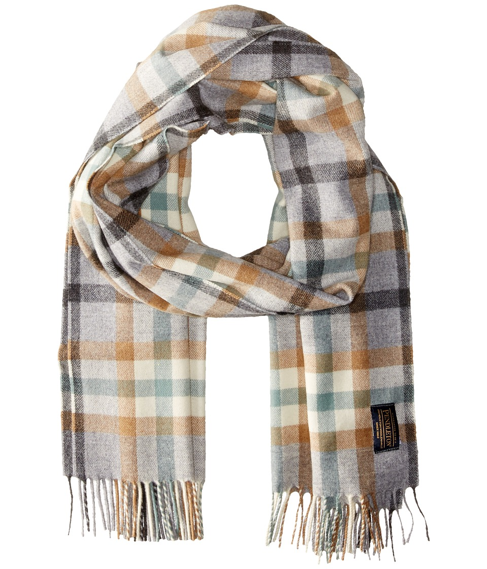 Pendleton - Whisperwool Scarf (Block Plaid Grey) Scarves