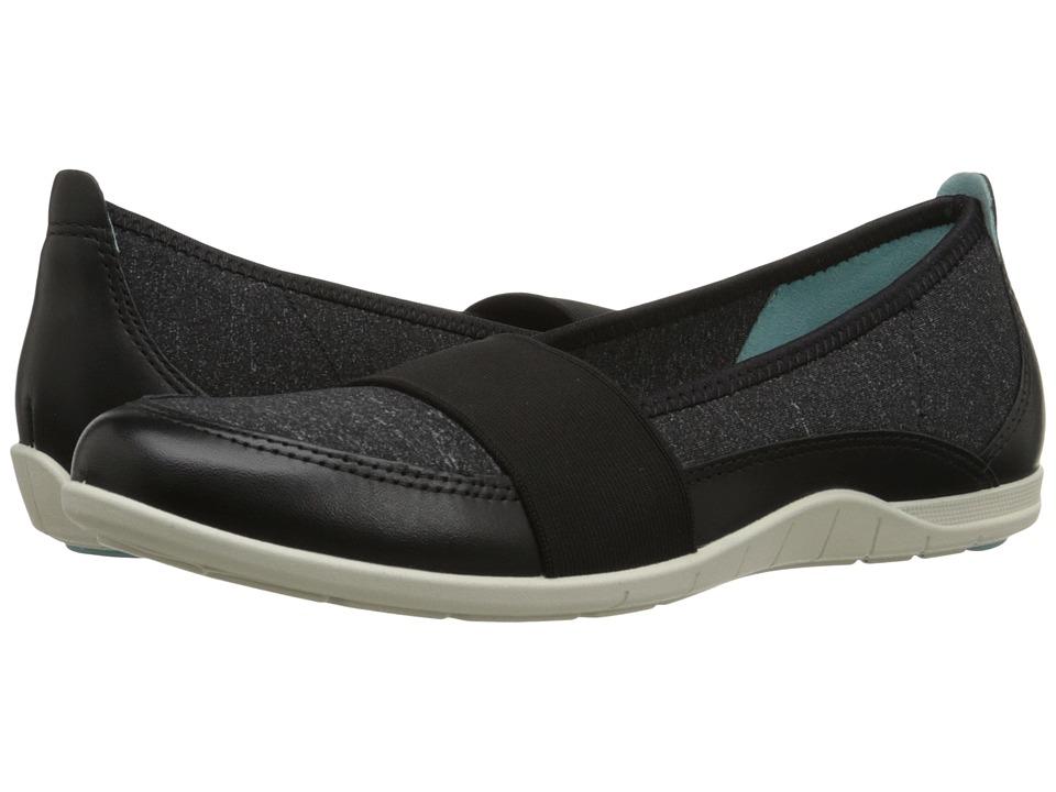 ECCO - Bluma Band (Black/Black/White) Women's Flat Shoes