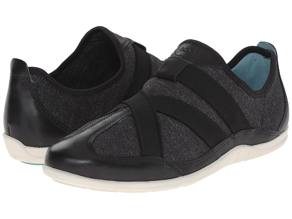 ECCO - Bluma Slip-On (Black/Black/White) Women's Slip on Shoes